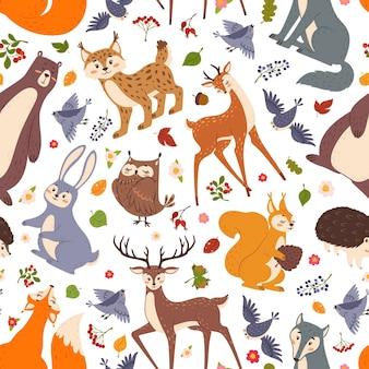 Bos dieren vector naadloze patroon schattig bos platte cartoon fox beer konijn herten egel