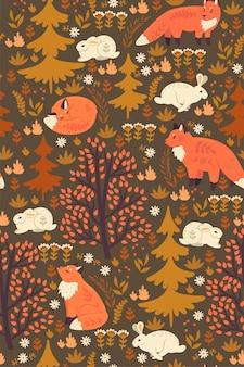 Bos naadloos patroon met vossen en hazen.