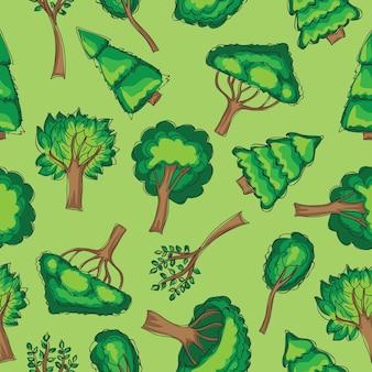 Bos - naadloos vectorpatroon met handgetekende bomen