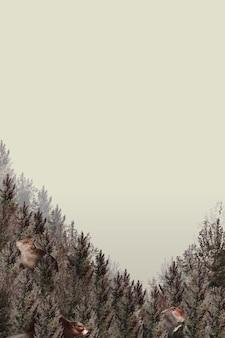 Bos patroon grens vector met lege ruimte op beige achtergrond