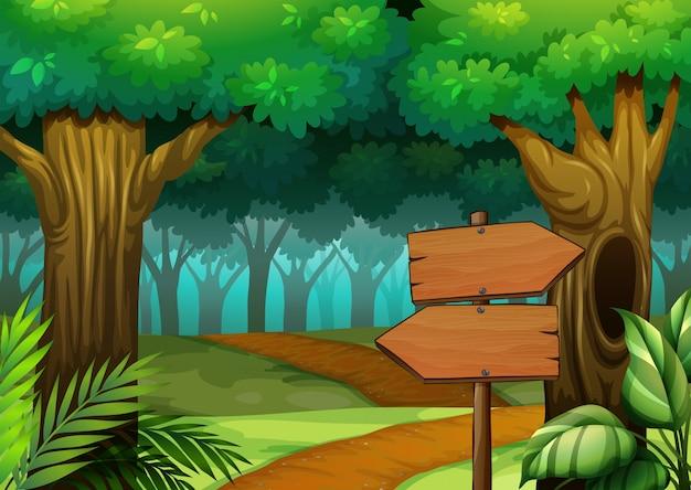 Bos scène met houten borden