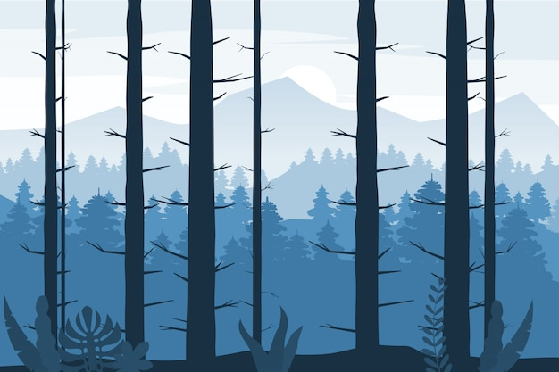 Bos silhouet houten bomen, struiken en struikgewas abstracte achtergrond