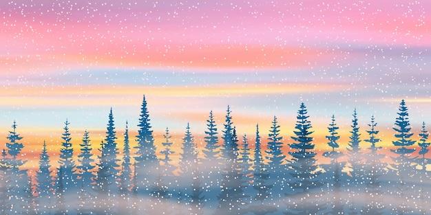 Bos tegen de achtergrond van een dramatische zonsondergang, vectorlandschap