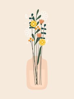 Bos van bloemenvaas en planten print vectorillustratie
