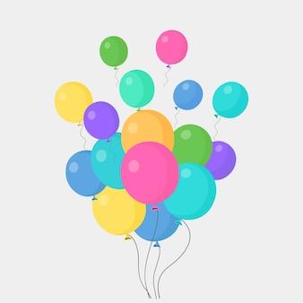 Bos van heliumballon die op grijs wordt geïsoleerd