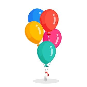 Bos van heliumballon, vliegende luchtballen. gelukkige verjaardag, vakantie. feestdecoratie