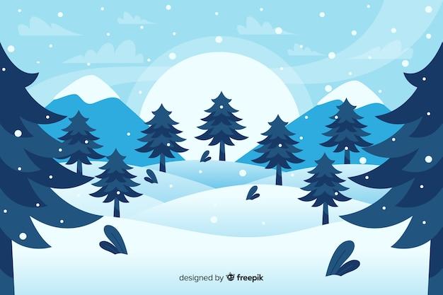 Bos van kerstbomen en bergen plat ontwerp