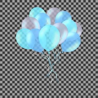 Bos van kleurrijke blauwe heliumballons die op transparant worden geïsoleerd.