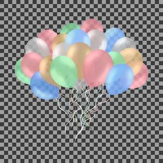 Bos van kleurrijke heliumballons die op transparant worden geïsoleerd.