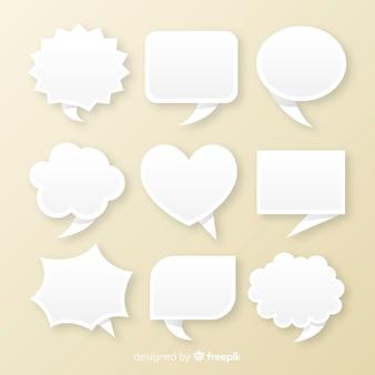 Bos van platte papieren stijl tekstballonnen