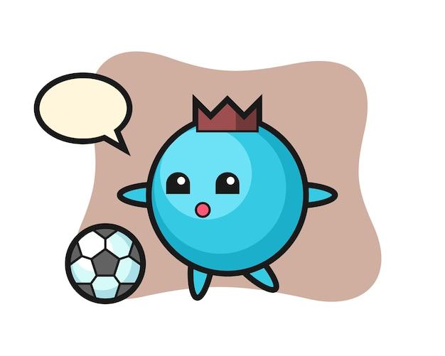 Bosbessen cartoon speelt voetbal