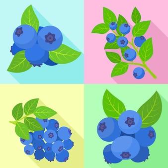 Bosbessen pictogrammen instellen. platte set van blauwe bosbes vector