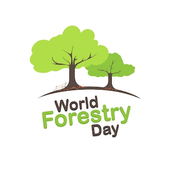Bosbouw dag logo ontwerp. 21 maart
