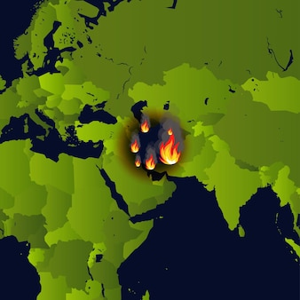 Bosbranden banner open haard op kaart ramp in krant die rook en smeulen verbrandt van