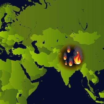 Bosbranden banner open haard op kaart rampenkrant die rook en smeulen van vuur verbrandt