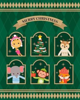 Bosdieren die lelijke kersttruien dragen die uit het raam gluren