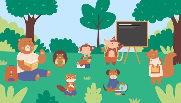 Bosdieren in schoolillustratie