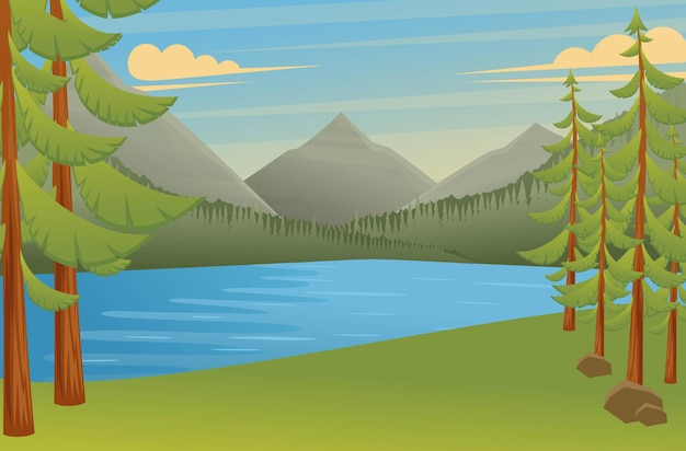 Boslandschap, een geweldige plek om te kamperen, prachtig uitzicht op het meer en de bergen