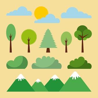 Boslandschap natuurlijke bergboomwolkzon