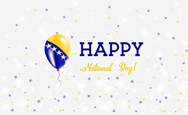 Bosnië nationale feestdag patriottische poster. vliegende rubberen ballon in de kleuren van de bosnische, herzegovijnse vlag. bosnië nationale feestdag achtergrond met ballon, confetti, sterren, bokeh en sparkles.