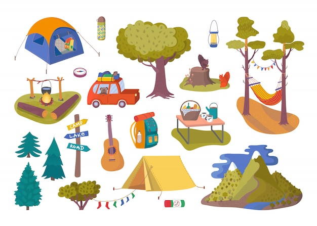 Bospicknick en kampeercollectie die voor reisillustratie wordt geplaatst.
