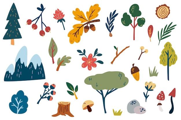 Bosplanten elementen hand tekenen bloemen bergen bos bomen hennep bladeren kruiden
