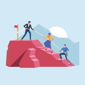 Boss leading teamwork naar hoogtepunt van succes