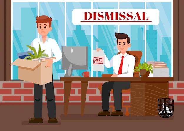 Boss ontslag werknemer platte vectorillustratie
