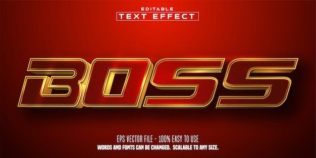 Boss-tekst, glanzende gouden kleurstijl, bewerkbaar teksteffect