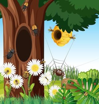 Bosscène met bijenkorf en andere insecten