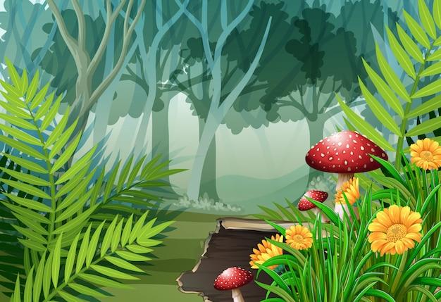 Bosscène met bomen en bloemen