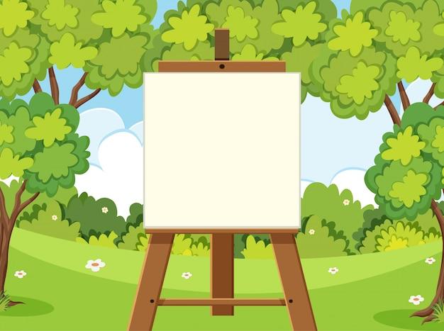Bosscène met groene bomen en leeg canvas
