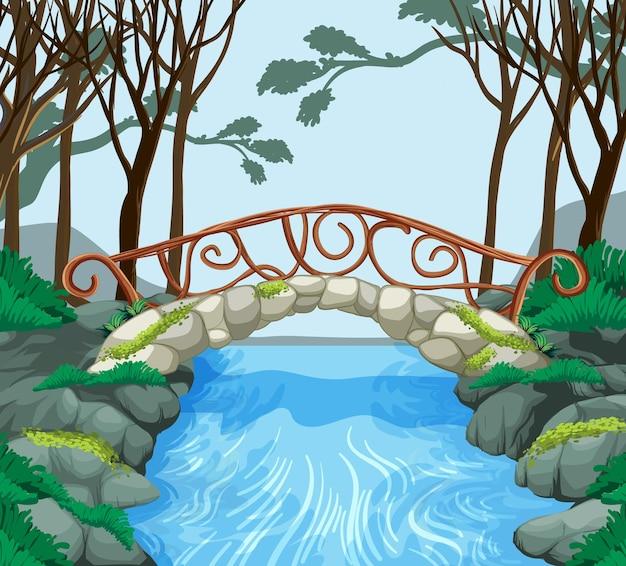Bosscène met stenen brug over de rivier