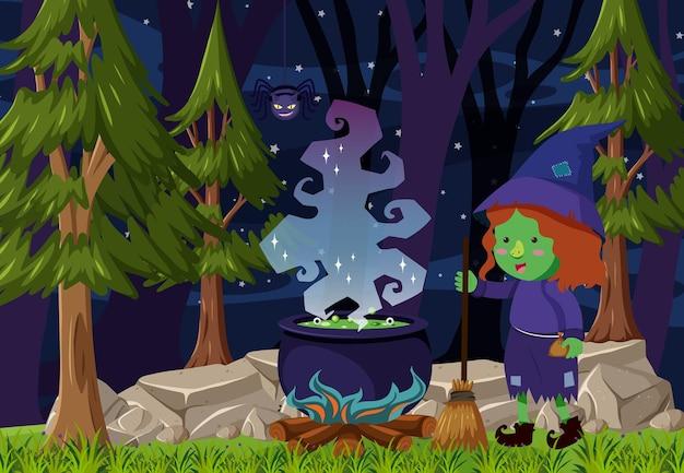 Bosscène 's nachts met een heksenspelling met toverdrankpot
