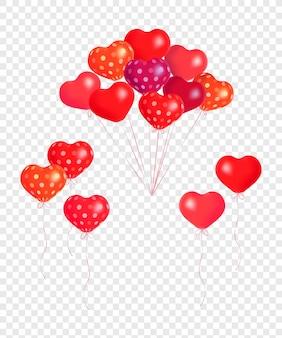 Bossen en groepen van kleurrijke helium ballonnen geïsoleerd op transparante achtergrond.