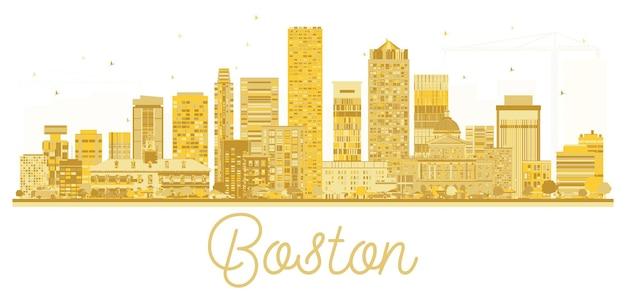 Boston usa city skyline gouden silhouet. vector illustratie. zakelijk reisconcept. stadsgezicht met bezienswaardigheden.