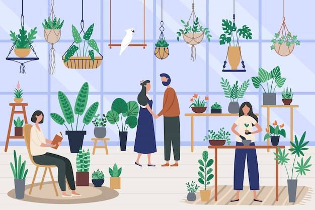 Botanicus kas. kamerplanten planten, planten kweken en plantenhobby. vrienden die tijd doorbrengen bij oranjerieillustratie