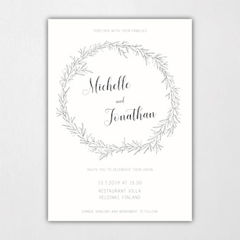 Botanisch bruiloft uitnodigingsjabloon met bladeren en takken