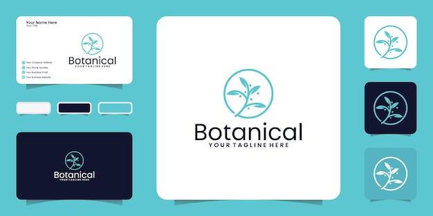 Botanisch minimalistisch logo en visitekaartje inspiratie