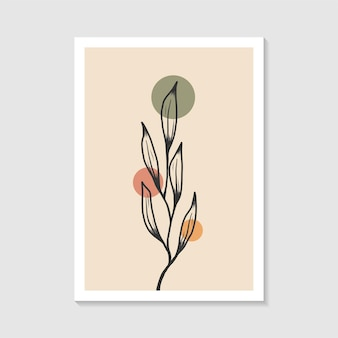 Botanisch muurkunstontwerp met elegante elegante abstracte vorm