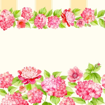 Botanisch naadloos patroon. bloeiende hortensia op witte achtergrond.