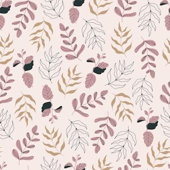 Botanisch naadloos patroon met bloemen en bladeren