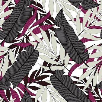 Botanisch naadloos patroon met tropische grijze en paarse bladeren en planten