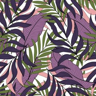 Botanisch naadloos patroon met tropische groene en paarse bladeren en planten