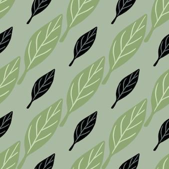 Botanisch naadloos patroon met zwarte en groene eenvoudige bladelementen
