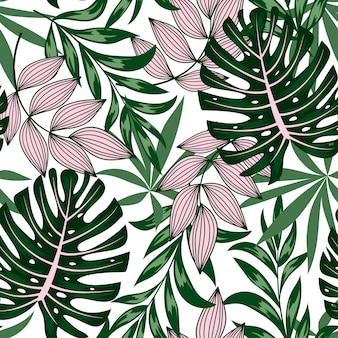 Botanisch naadloos tropisch patroon met heldere planten en bladeren op een gevoelige achtergrond