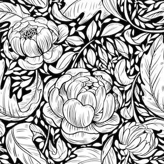 Botanisch overzicht hand getrokken illustratie naadloos patroon
