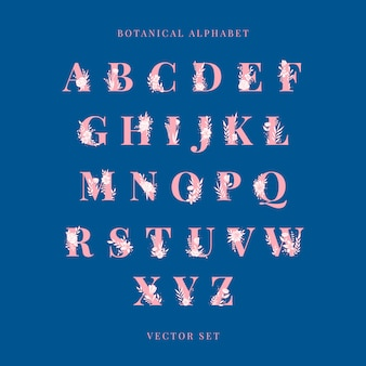 Botanische alfabet hoofdletters vector set