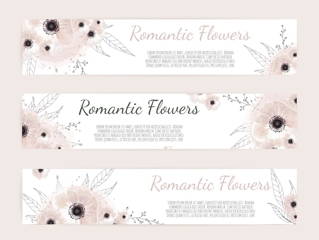 Botanische baners met wilde bloemen