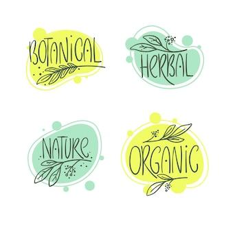 Botanische, biologische, kruiden-, natuurset van handgetekende logo, lebel en emblemen
